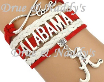 NFL Alabama Crimson Tide Football Infinity Leather Bracelet Charm Black Gold