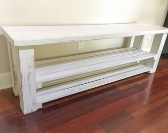White Shoe Bench/Entryway Bench/Functional Bench With Storage/Distressed Storage Bench/Bench Organizer