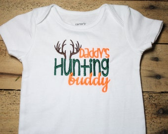 Embroidered Bodysuit Daddy's Hunting Buddy Camo Antlers Bodysuit Daddy Deer