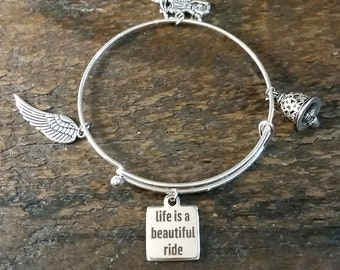 ON SALE! Life is a Beautiful Ride Motorcycle Biker Bangle Bracelet