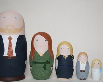 Portrait family set of 5 wooden nesting dolls.