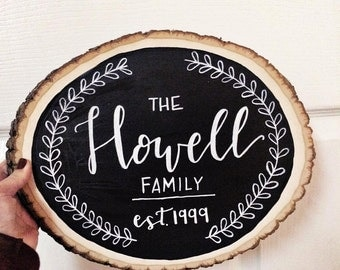 Custom Wooden Round Family Sign