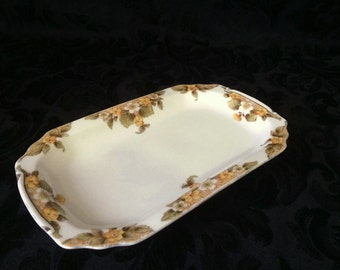 Vintage 1940s Noritake Butter / Serving Plate, Yellow Floral Design