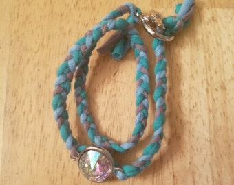 Double Wrap Charcoal, Teal, and Light Blue with Pendant