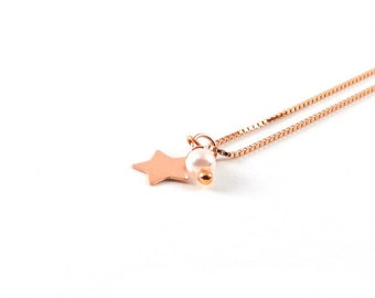 Star bead I delicate necklace I Rosé gold
