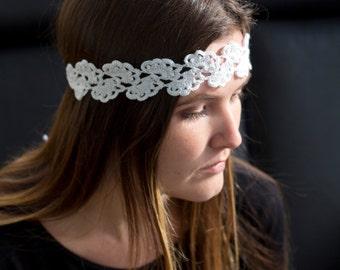 Crochet boho headband Scalloped crochet headband White headband