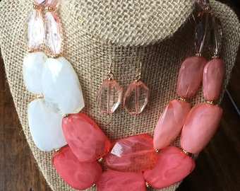 Bridesmaid statement necklace in prink ombre stone with matching earrings