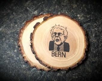 Bernie Sanders BERN Rustic Natural Wood Coasters Set of 2