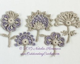 Crochet Applique Pattern - Irish Crochet Lace Flower Motif Set - Set of 5 with discount - Crochet Decor - Crochet Embellishment - PDF