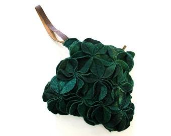 Green Wool handbag, Felt art purse, Soft wool wristlet