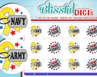 """Military Dog tags, 1"""" Circle/Round Bottle Cap Images, Navy, Army, Coast Guard, Marines, Air Force, Hero, Clip Art - #500"""