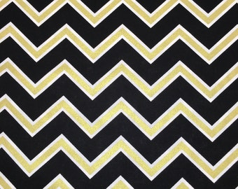 Black Gold White Chevron Print Floral Apparel Quilting 100% Cotton Fabric 1 Yard