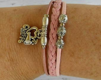Cheer Bracelet// Team Colors// Cheer Mom// Cheer Coach// Cheerleader Gift// Custom Sports Bracelet for Girls// Choose Colors & Charm