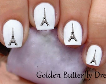 1142 Eiffel Tower Paris  Waterslide Nail Art Decals Decal Stickers Enough For 2 Manicures