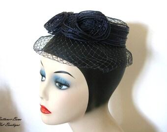 Clearance ~ Vintage mini Fascinator hat Navy circa 1950's/ 1960's