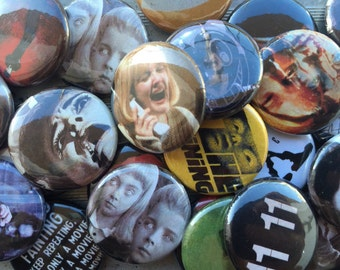 "Handmade 10 Horror Movies 1"" Buttons of your choice Lapel Pins"