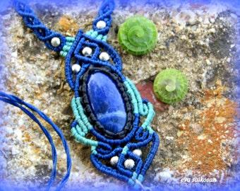 Pendant with sodalite stone,boho,tribal,spiritual stone