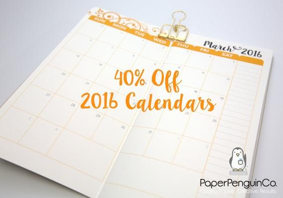 Calendar Notebook 2016 : Off midori insert monthly calendar by paperpenguinco