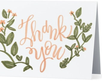 Rustic Floral Thank You Notes  - 5.5x4