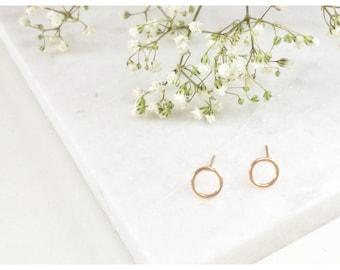 Karma Open Circle Stud Earrings,Circle Post Earrings ,Small Stud Earrings,Handmade,Dainty Studs,Delicate Studs, Gold Studs,Simple Earrings