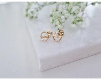 Open Circle Bar Studs,Gold Circle Ear Studs,earrings studs,Circle Post Earrings
