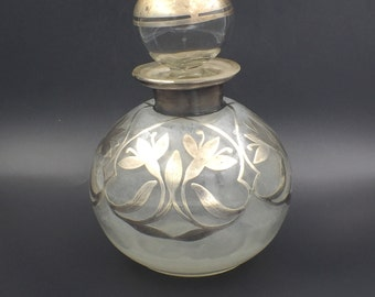Vintage  Silver Overlay Decanter PERFUME BOTTLES Cruets Antique Glass with Stopper