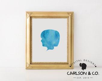 Children's Watercolor Silhouette/White Background Printable; Children's Wall Art; Nursery Wall Art