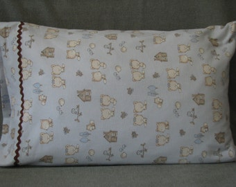 Woodland creatures foxes hedgehogs cotton flannel standard size handmade pillowcase