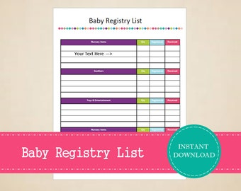 Baby Registry List - Baby Planner - Pregnancy Planner - Printable and Editable - INSTANT PDF DOWNLOAD