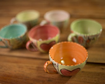 set of six cups colorful cups, handmade cups, small cups, pottery cups, ceramic cups