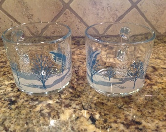 Vintage set of 2 Anchor Hocking Winter Scene glass mugs