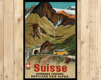 Switzerland Bus Postal Services Poster Vintage Tourism Travel Poster Advertising Retro  Art Print Quality(233001876)