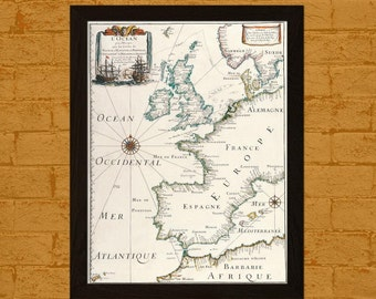 Old Spain Map Print - Printed On Japanese Textured Paper France Map Spain Poster France Poster Map Wall Art Spanish Map French Old Map
