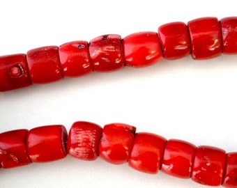 Red Dyed Coral Beads, Sold by 1 strand, 10mmx14mm 1mm hole opening,  133.2grams/pk