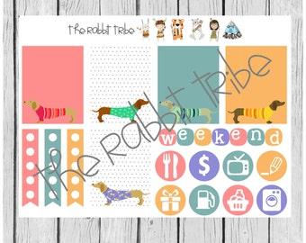 Weekly sticker set - sausage dog, daschund, dog - planner stickers