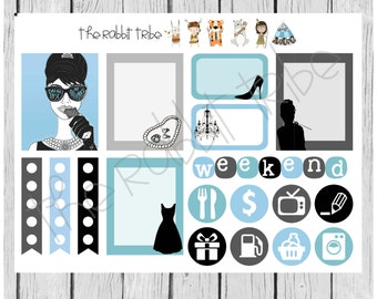 Weekly sticker set - tiffanys, breakfast at tiffanys - planner stickers