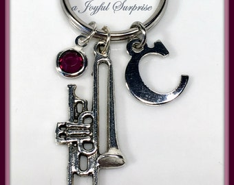 Trombone Keychain, Band Instrument, Gift for Trombone Player Charm Keyring, Silver Key Chain Jazz Musician Musical Music Instrument Custom
