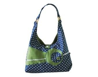Bag blue green shoulder bag dress time spotted shoulder bag bag bag - unique handmade, gifts for her