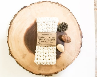 Organic Cotton Crocheted Washcloth - handmade all natural organic cotton yarn