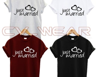 just married t shirt marriage wedding hubby wifey husband wife couples love heart fashion slogan tumblr quote unisex