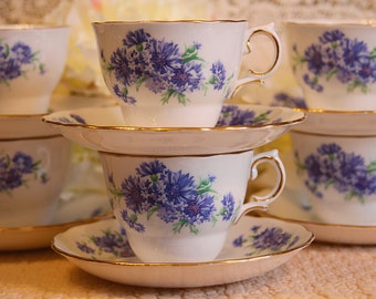 Colclough Set of 6 Tea Cups & Saucers, Blue Cornflowers on White with gold trim
