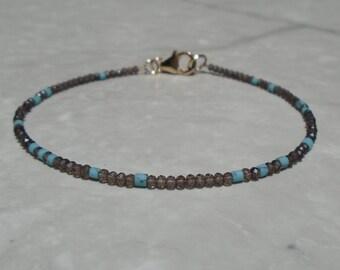 Turquoise Bracelet, Genuine Turquoise, Smoky Quartz Bracelet, Dainty Beaded Bracelet, Skinny Bracelet, Anklet, Skinny Turquoise Anklet
