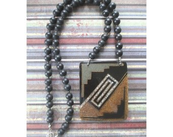 Lucite Pendant Necklace * Art Deco Style * Black Beads * Glitter * Statement Necklace * Gift For Her