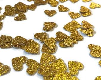 MINI Heart Confetti, Gold Glitter Confetti, princess party decor, confetti mini hearts, princess shower, small heart confetti, gold wedding