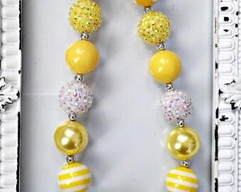 YOU ARE my SUNSHINE, yellow chunky bead necklace, girls yellow necklace, sunshine necklace, girls yellow jewelry, spring necklace, yellow