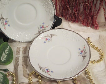 Vintage Walbrzych Saucers - Flowers, Silver Trim - Made In Poland
