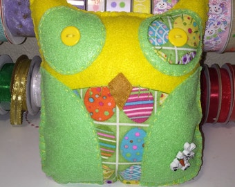 Yellow And Green Felt Easter Owl