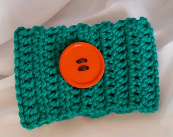 Teal with Orange Button Cup Cozy
