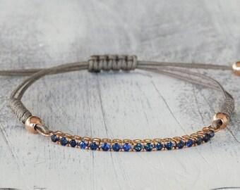 Tennis Bracelet, Sapphires Tennis Bracelet for Woman, Tennis Bracelet for Girl, Rope Bracelet for Ladies,  18K Gold Bracelet