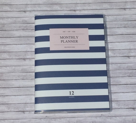 Monthly Calendar Notebook : Navy monthly planner calendar small notebook